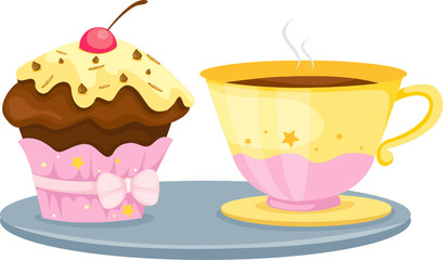 cup of coffee and cute cup cake