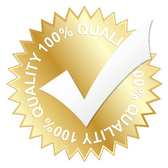 """100% QUALITY"" vector stamp (gold)"