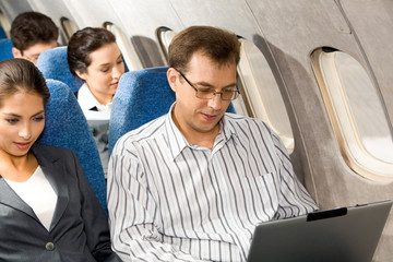 Working in airplane