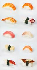assortment of traditional japanese sushi on white background
