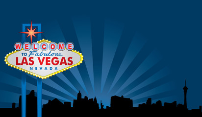 Las Vegas Sign with City Skyline