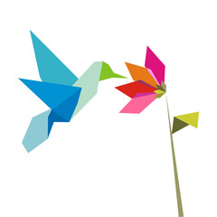 Origami  hummingbird  and flower on white