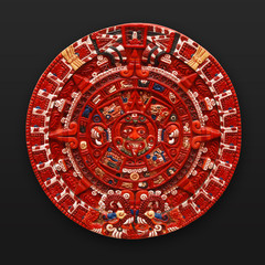 Painted stone aztec calendar latin america