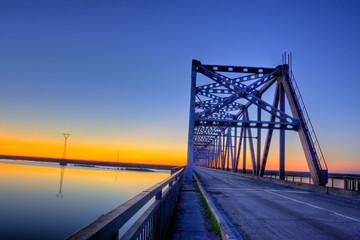 automobile bridge on sunset