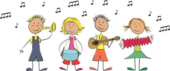 Vecteur 4 enfants musique