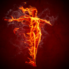 Poster de jardin Flamme Fire girl