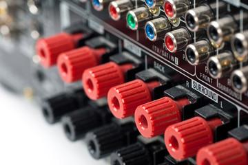 Closeup of speaker terminals on AV Receiver