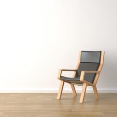 interior design wood armchair on white