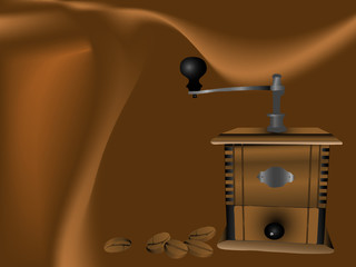 Coffee mill and beans - brown vector illustration
