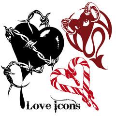 vector illustration tattoo design set (love)