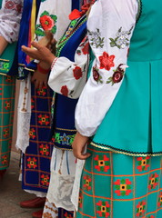 Women dressed up in national ukrainian costumes