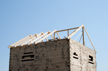 The under construction wooden home
