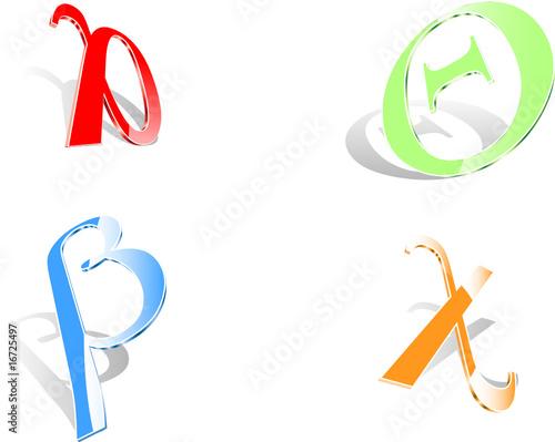 Four 3D Greek Letters
