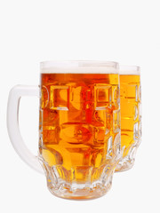 A mugs of beer closeup view