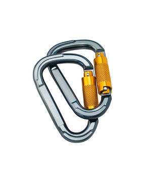 isolated two carabiners