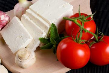 White cheese with tomato