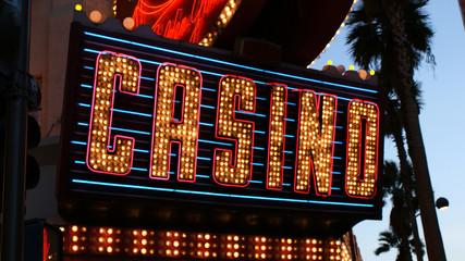 Neon Casino Sign Palm Trees