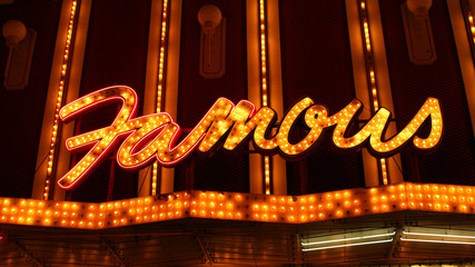Neon Famous Sign with Lights
