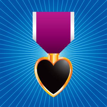 Purple heart medal on blue starburst