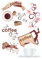coffee cartoons set