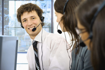 Operators taliking on headset