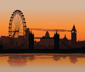 Vector illustration of London skyline at sunset