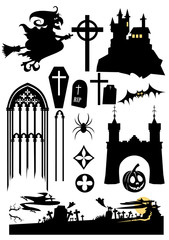 halloween design elements: witch, cross, castle, tomb