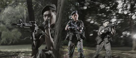 Smart Asian Man In Soldier Uniform