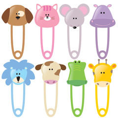 Animal Baby Safety Pins Set 2 Isolated