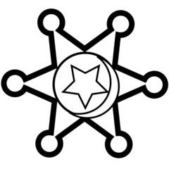 cowboy star badge stamp