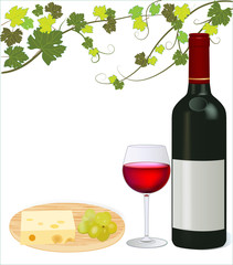Red wine with grape and cheese vector illustration