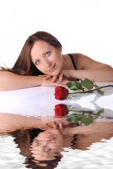 young woman portrait with reflecion in water