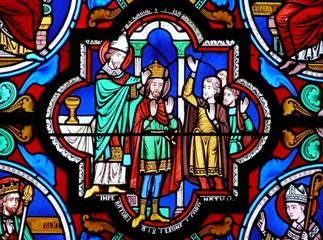 vitrail sacre charlemagne poitiers sainte radegonde france