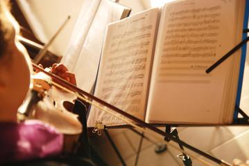 beautiful violin music on a sunrise