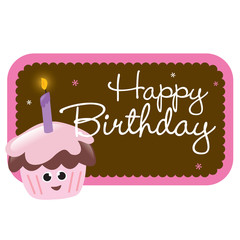 Isolated birthday cupcake with sign