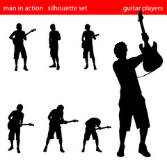 man in aciton silhouette set
