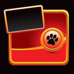 Paw print orange halftone template