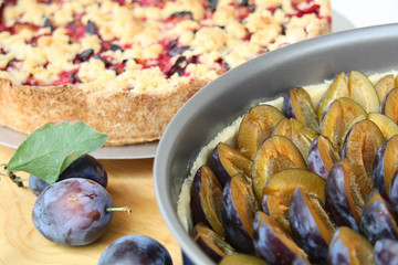 Pie of plums, Pflaumenkuchen