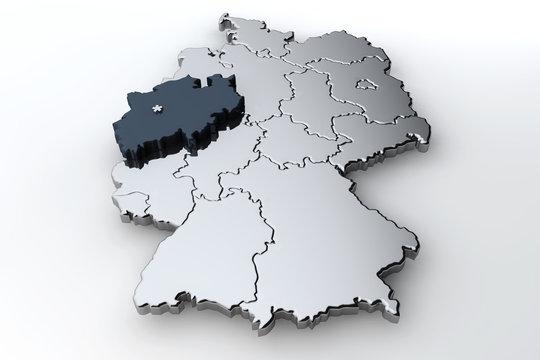 Deutschlandkarte Nordrhein Westfalen NRW