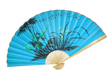 blue Chinese fan on the white background