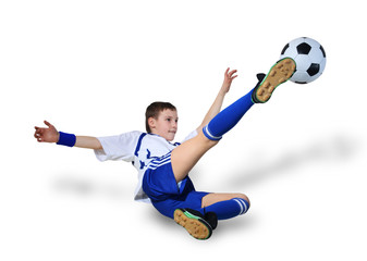Boy with soccer ball, Footballer. (isolated)