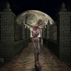 Halloween Scene mit Zombie