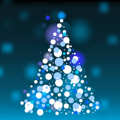 Vector abstract white christmas tree on blue background.