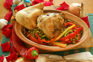 grilled chicken with organic vegetables in a brown bowl