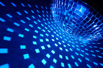 Wall Mural - Disco ball with blue illumination