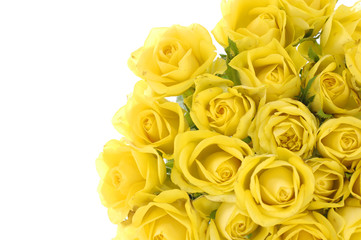 Bouquet of yellow roses on green background