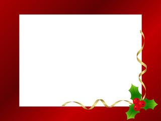 Red ornamental christmas frame