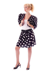 Pin-up girl in Polka dot suit
