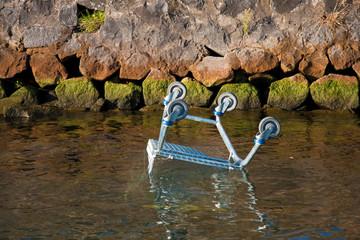 Einkaufwagen im Wasser Fluß entsorgt