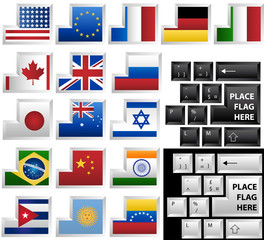 Black and White vector keyboards with 17 different keys as flags